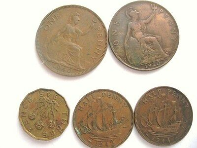 Lot of 5 Older English Coins 1920-45