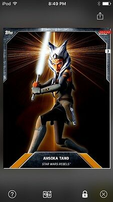 Topps Star Wars Digital Card Trader Laser Burst Orange Ahsoka Tano Base Variant