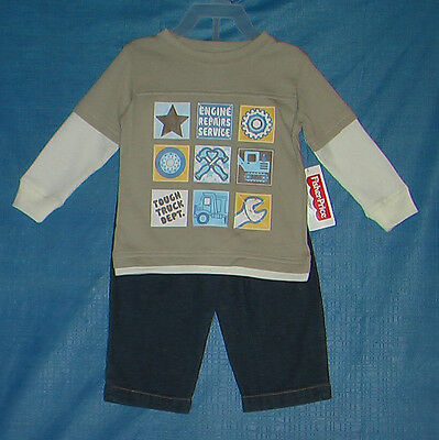 Fisher-Price (New) Boys Size 12 Months 2 Piece Outfit Shirt And Pants Nwt