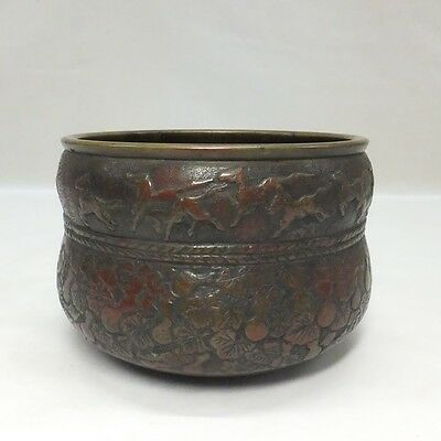 E511: Japanese OLD copper tea-things slop-basin KENSUI with great relief work