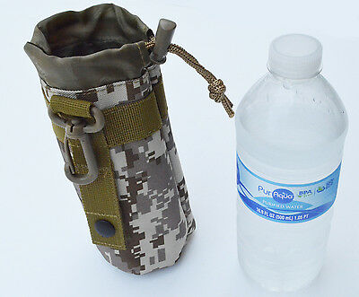 MOLLE Camo Water Bottle Carrier Pouch Add-on for Utility Bag Back pack (MARPAT)