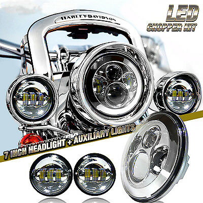 """Chrome 2x 4.5"""" Passing Light & 7"""" LED Projector Daymaker Headlight  For Harley"""
