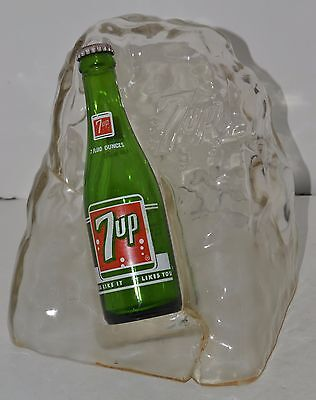 Vintage 7 Up Bottle with Block of Ice Display