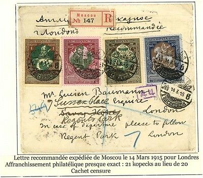 Russia 1915 Registered cover to London, sensored, Sc B5-8