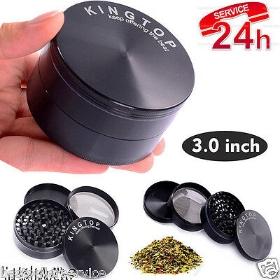 4 Piece 3 Inch Black Tobacco Herb Grinder Spice Herbal Zinc Alloy Smoke New