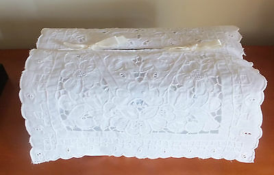 Vintage White Embroidered Cutwork Lace Tissue Box Cover Wedding Bridal