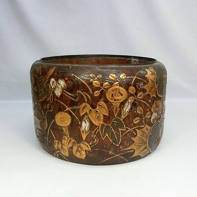E490: Japanese old wooden ware HIBACHI brazier with very good MAKIE.