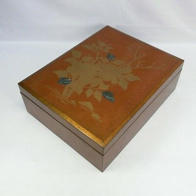 E455: GREAT Japanese old lacquerware BUNKO box with MAKIE and all NASHIJI work