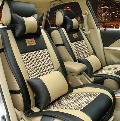 Car Universal Needlework PU Leather Front Rear Car Seat Cushion Cover 10pcs