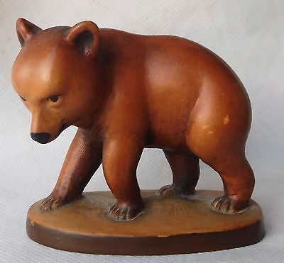 Walter Stahli , swiss wood carving of a  bear