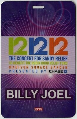 Billy Joel authentic 2012 concert tour Laminated Backstage Pass