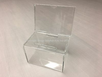 Clear Perspex Acrylic Suggestion & Ballot Box with Header Panel