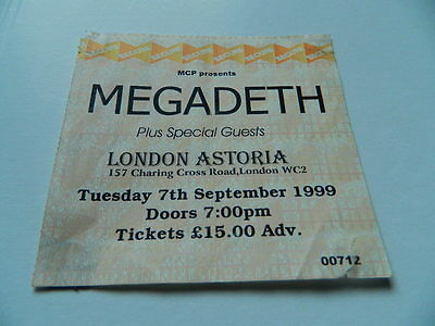 ***MEGADETH *** RARE USED CONCERT TICKET STUB LONDON ASTORIA 7th SEPT 1999 ***