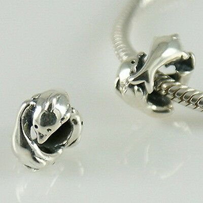Dancing DOLPHINS- Dolphin- Animal- Solid 925 sterling silver European charm bead