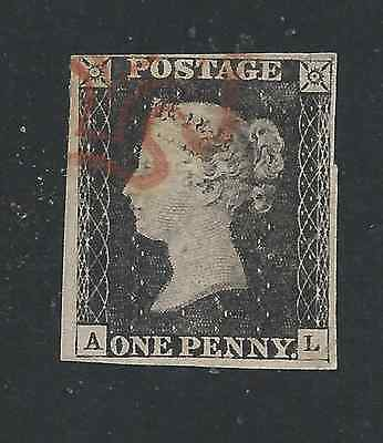 GB-QV 1840 1d BLACK AL PLATE 1b RED MX FU JUST ABOUT 4 MARGINS SG 2 CAT £375