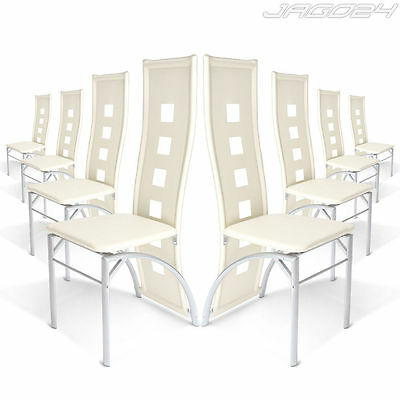 Faux Leather Dining Chairs Set Steel Leg High Back Kitchen Chair Cream White