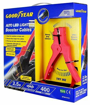 Goodyear 400Amp 2.5M Auto Led Light Booster Cables
