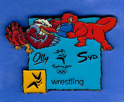 Mascots Syd and Olly in Wrestling w/pictogram insert Pin - Sydney Olympics