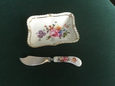 ROYAL CROWN DERBY BUTTER DISH and KNIFE