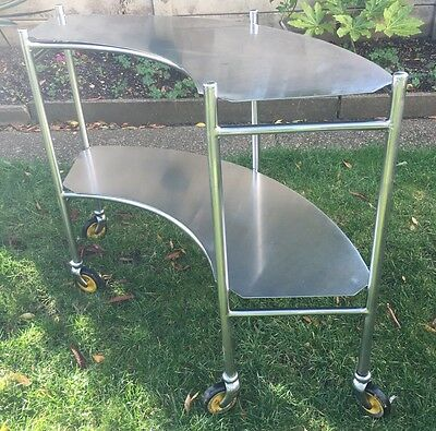 Vintage Stainless Steel Medical Surgical Hospital Theatre Bar Display Trolley