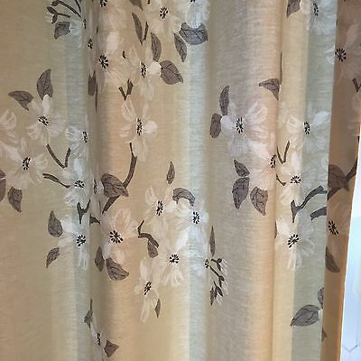 Beige Flower Lined Curtains 66 Inch Wide 89 Inch Long
