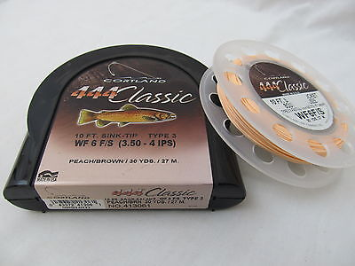 Cortland 444 Classic Fly Line Wf6 F/s Type 3 Sink Tip Peach Brown 30 Yds