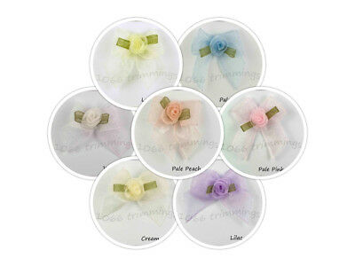 Organza Sheer Ribbon Bows With Rose Bud Many Colours Listed Sm & Lg Packets