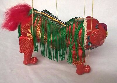 Vintage Chinese Fu Dog Lion String Puppet In Original Box