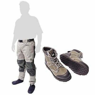 Leeda Stocking Foot Breathable Volare Fly Fishing Waist Waders with Wading Boots