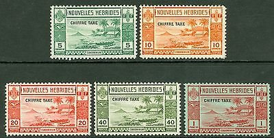 SG FD65-69 New Hebrides set of 5. 10c very lightly hinged. Others unmounted...