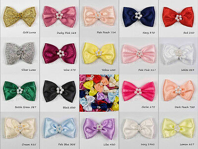 10 Satin Ribbon Bow Tie With Cluster of Beads Many Colours Listed Sewing Craft