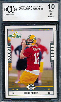 2005 Score Glossy #352 Aaron Rodgers Rookie Card Graded BCCG 10