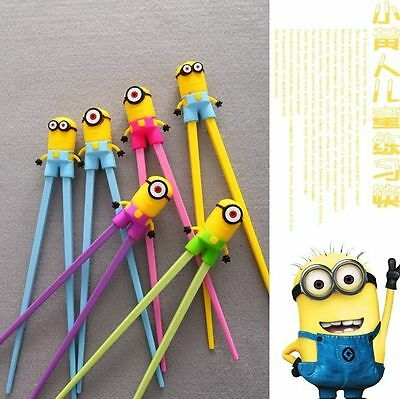 Cute2pairs Minions Kids training Helper Learning Fun Gift Toy Cheater Chopsticks