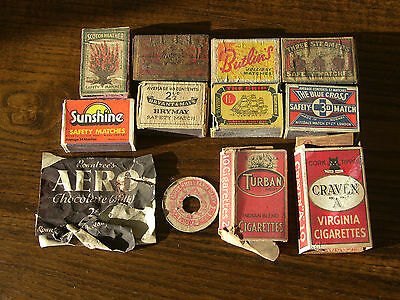 Vintage Cigarette Packets And Match/sweet Boxes Job Lot.