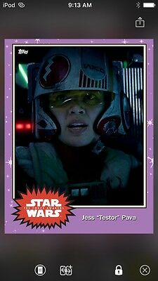 "Topps Star Wars Digital Card Trader Preview Jess ""Testor"" Pava Base 4 Variant"