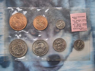 New Zealand 1965 UNC 7 coin set 1/2 Penny - Half-Crown sealed pack by Royal Mint