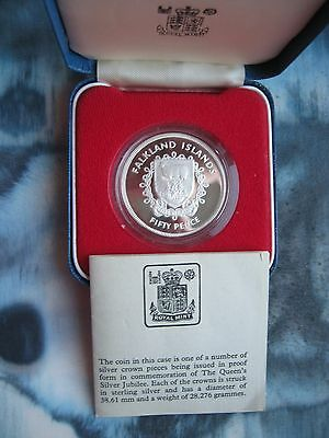 Falkland Islands 1977 Silver Jubilee Sterling Proof Crown coin Royal Mint COA