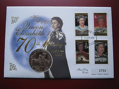 St. Helena 1996 50 Pence Crown coin Queen 70th Anniversary First Day Cover FDC