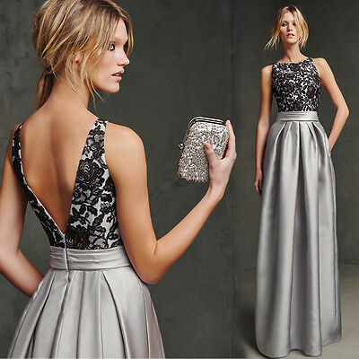 2017 Stock Long Formal Evening Gown Gray Bridesmaid Prom Wedding Party Dress