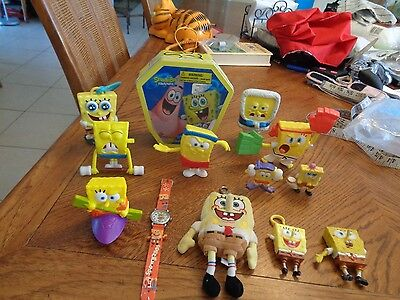 Large lot of 13 SpongeBob Squarepants toys,New and Used LOOK