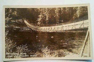 1930's CLEARWATER RIVER SELWAY NATIONAL FOREST IDAHO SUSPENSION BRIDGE RPPC