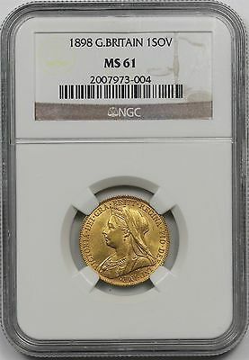1898 Great Britain Gold 1 Sovereign 1SOV MS 61 NGC Pop= 6/5