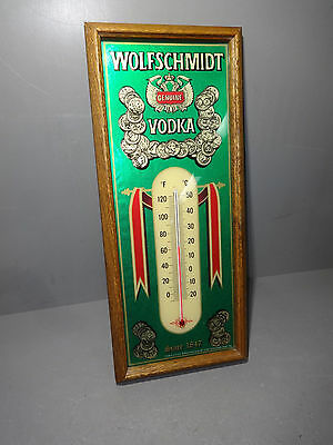 Vintage WOLFSCHMIDT GENUINE VODKA Advertising Thermometer Wall Sign 8x19""