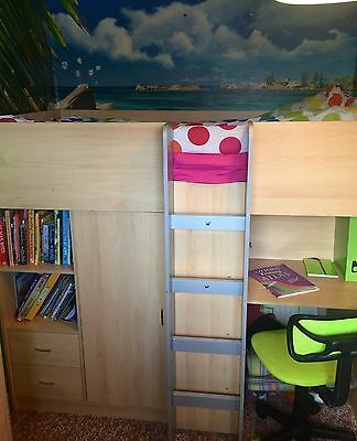 High Sleep Short Cabin Bed With Desk, Wardrobe, Chest Of Draws