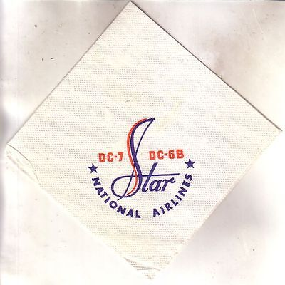 NATIONAL AIRLINES - 1950s NAPKIN DC-7 DC-6B STAR