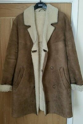 "Vintage Moorlands Mens Sheepskin Coat Good Used Condition Size 40"" - 44"" Chest"