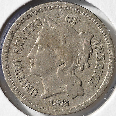 1872 3CN Three Cent Nickel Type Coin Circulated Fine