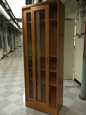 Tall Wood Laboratory Storage Cabinet with Sliding Glass Doors