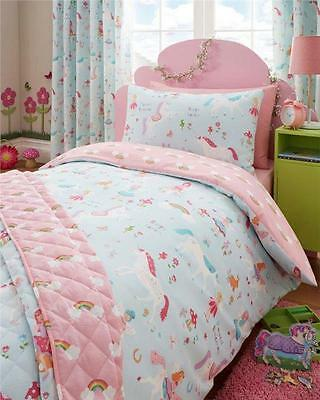 SINGLE DUVET SET - Unicorns Fairies & Rainbows Quilt Cover Set - Girls Bedding