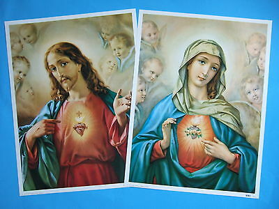 """Catholic Print Picture SACRED HEART JESUS & MARY set by Morgari large 12x16"""""""